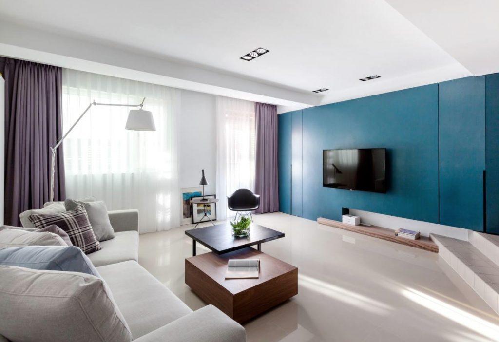 Интериорен дизайн на всекидневна в синьо