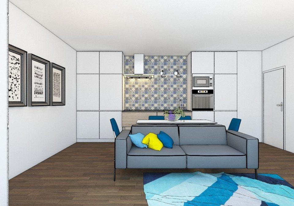 Grey sofa, kitchen furniture, wooden floоr