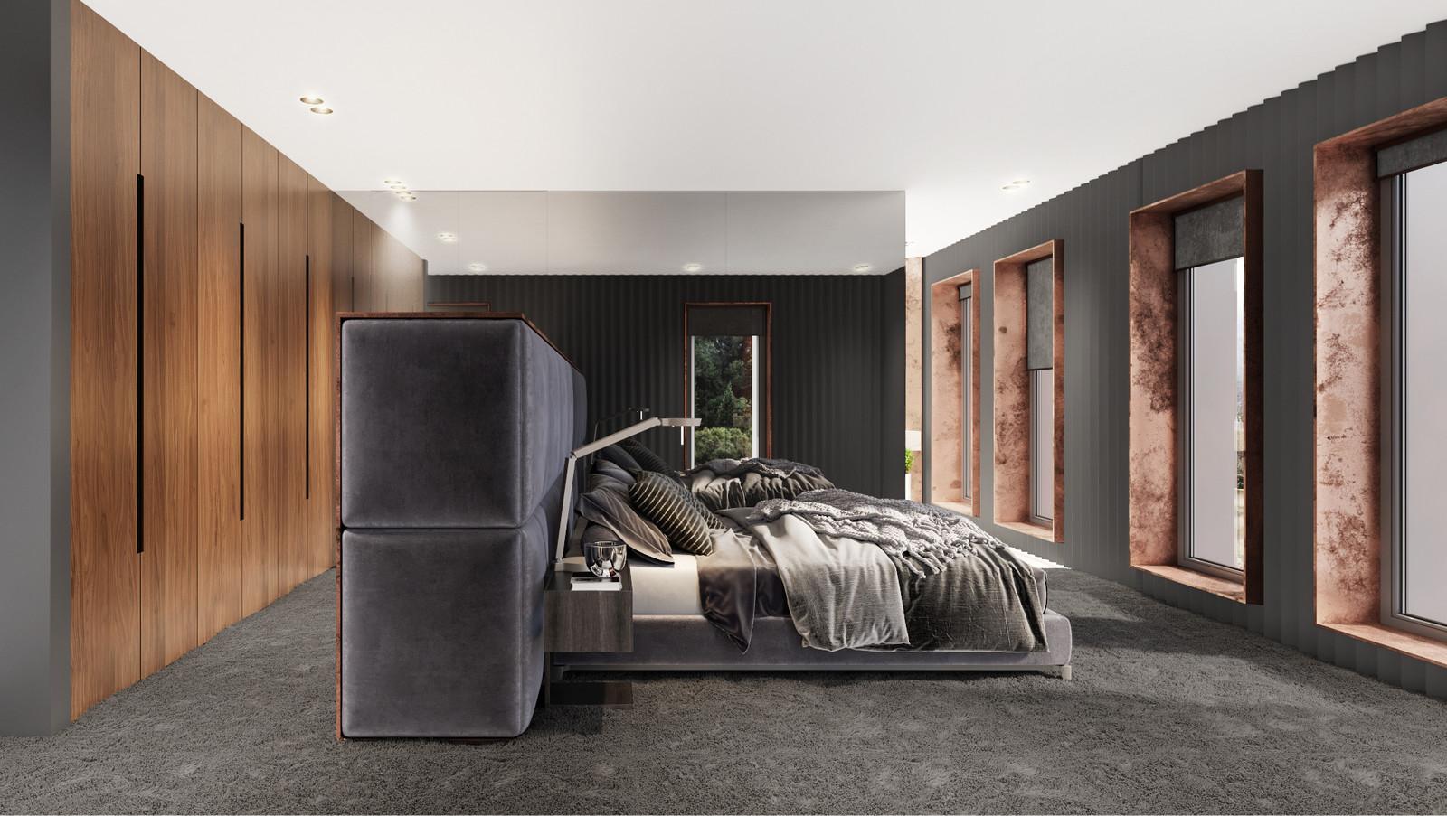 интериорен дизайн на спалня с дървени елементи и отворен гардероб