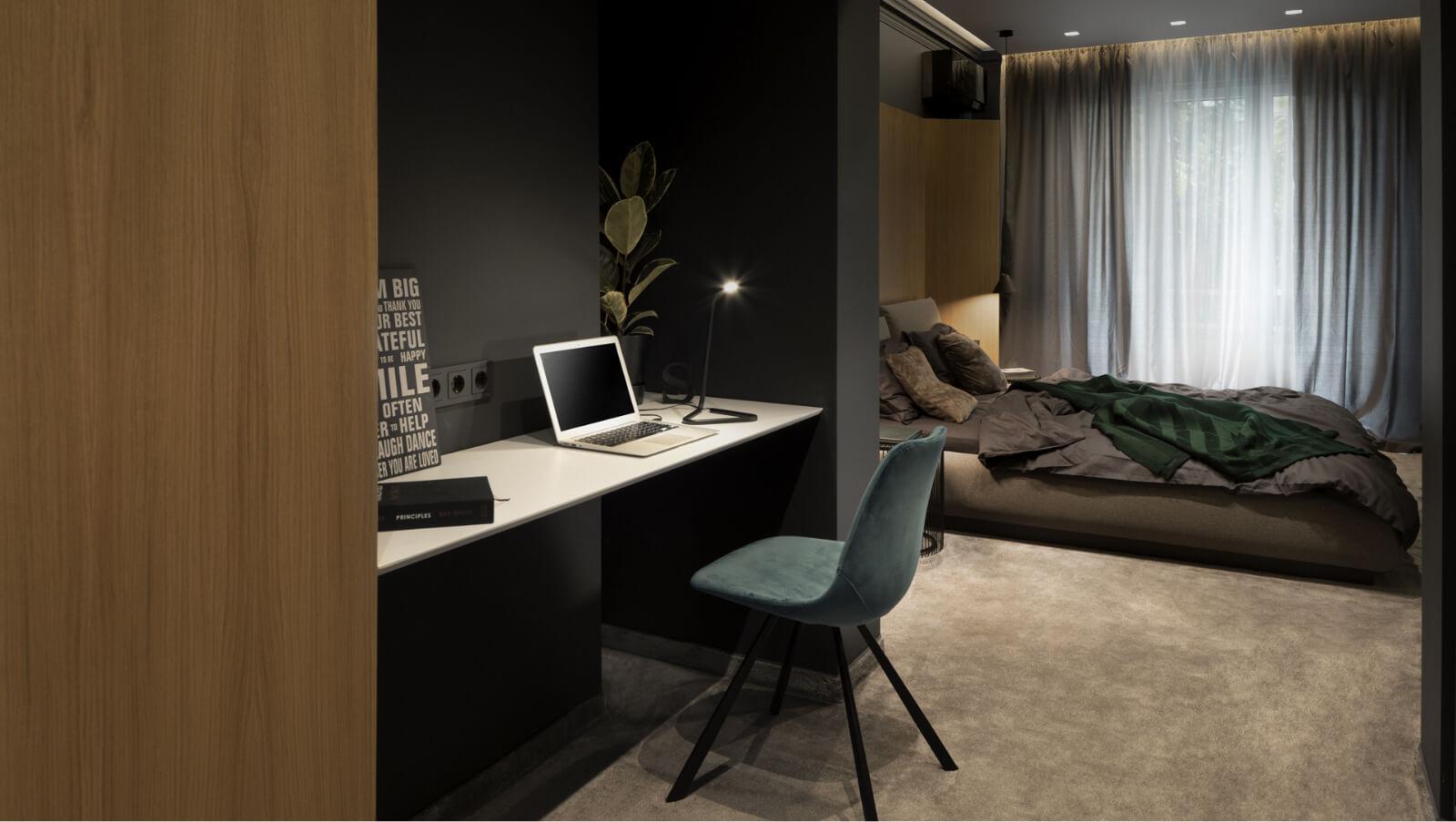 Интериорен дизайн на спалня с кабинет