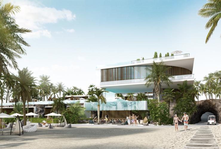 Идеен проект за екзотичен хотел на плажа проектиран от ALL in STUDIO за топлите южни морета на остров Фиджи – зеленината, водата и слънцето са в изобилие.
