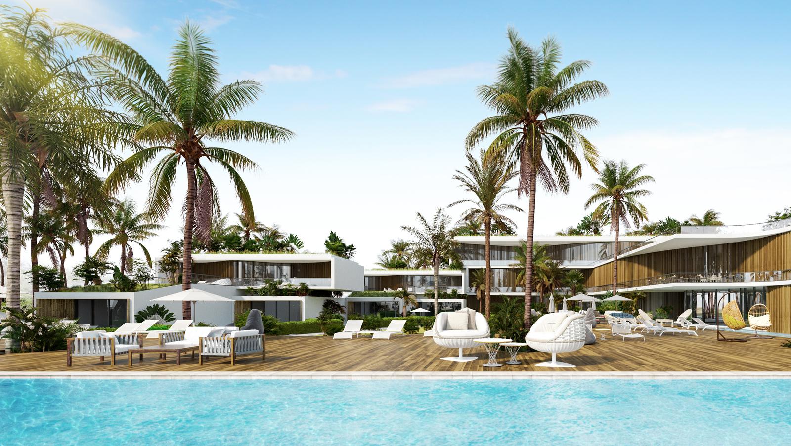 Дизайн на хотел - изглед от басейна