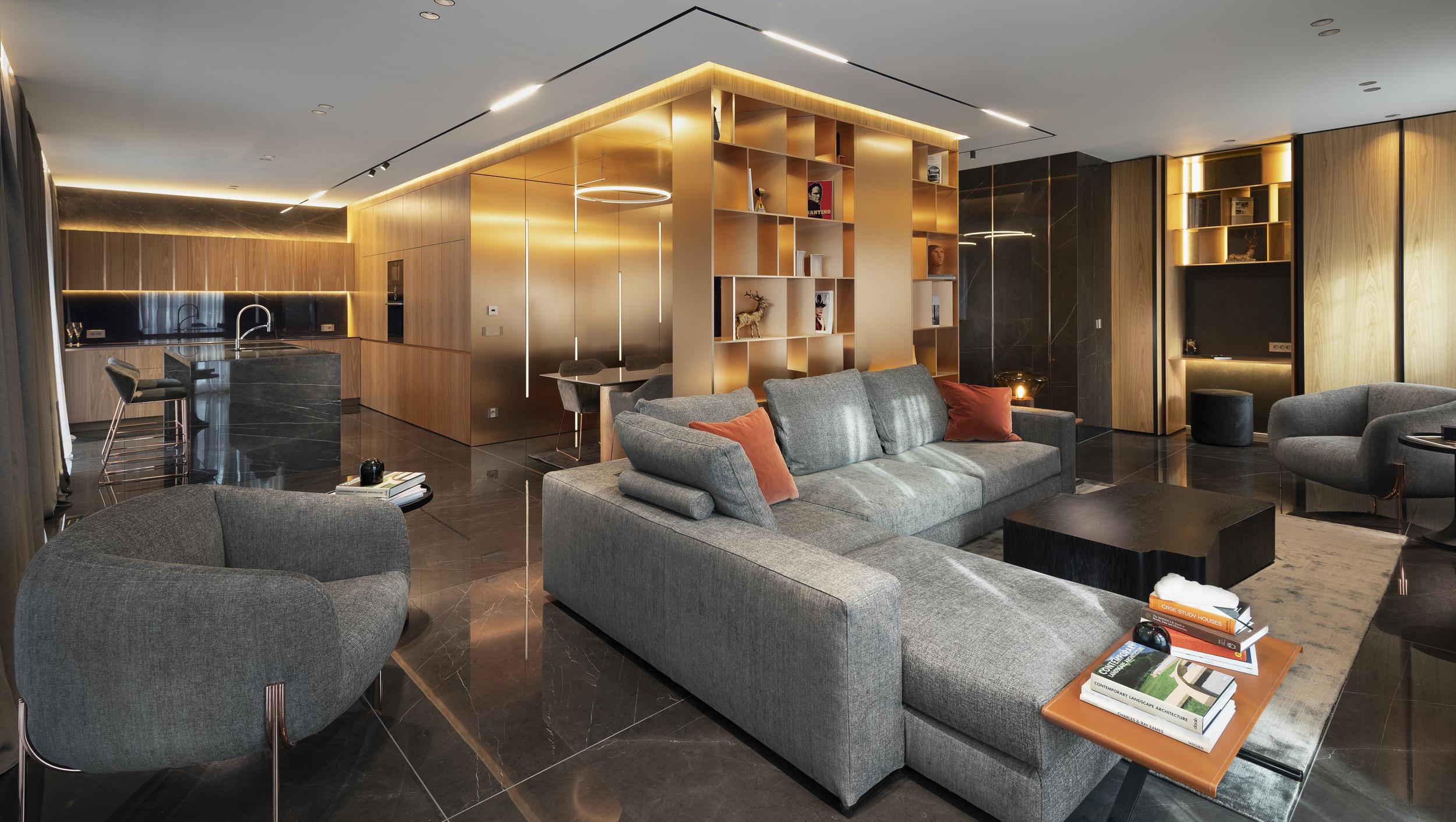 Хол, кухня, диван и библиотека